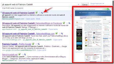 come vedere anteprima blog sito ricerca Google