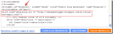 come mettere elenco blog pagina blogspot