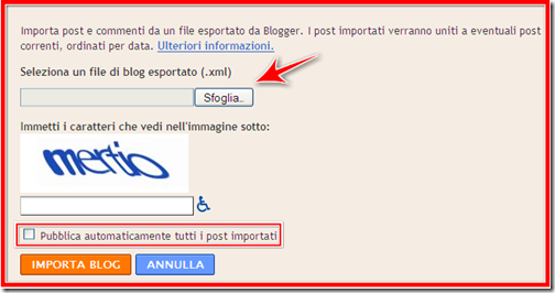 come trasferire esportare  post altro blog blogspot