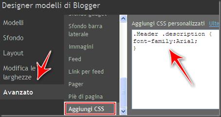come cambiare sostituire font carattere descrizione blog blogger