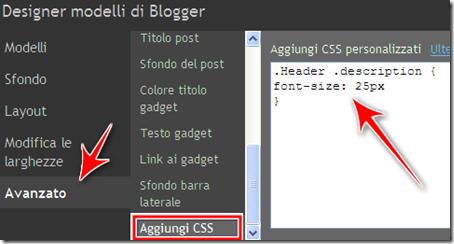 come fare più grande testo scritta header descrizione blog blogger
