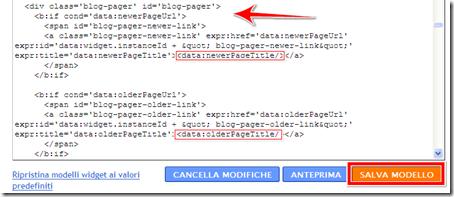 come cambiare link post più vecchi recenti blog blogger