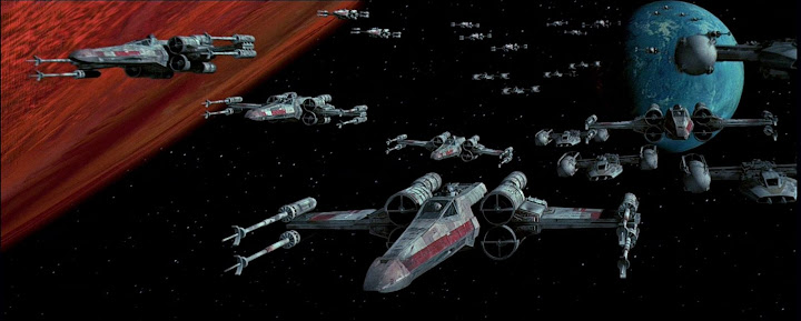 Grupo de cazas «X» preparandose para librar la batalla decisiva en la órbita de la luna «Yavin»