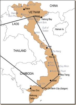 carte vietnam pour parcours