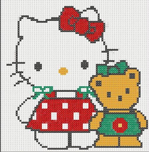 Hello Kitty – Ponto Cruz Gráfico passo a passo