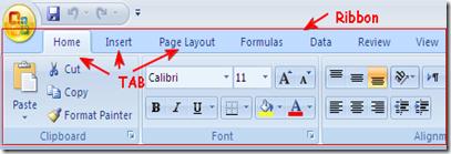 Ribbon Microsoft Excel 2007