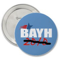 Bayh reelection button with 2010 scratched out