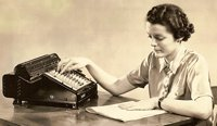 Woman with adding machine