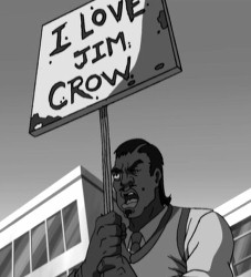Cartoon of black man carrying I LOVE JIM CROW sign