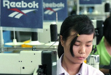 Chinese Reebok factory worker