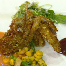 Soft Shell Crabs with Corn Relish, Field Greens and Roasted Red Pepper Sauce