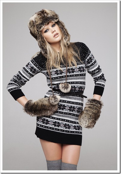 Snowflake tunic £15 due in store end August, faux fur trapper hat £6 due in store end August, Faux fur mitten £4 due in store end September, patent skinny bow belt £2 due in store end August, Over-the-knee socks £2.