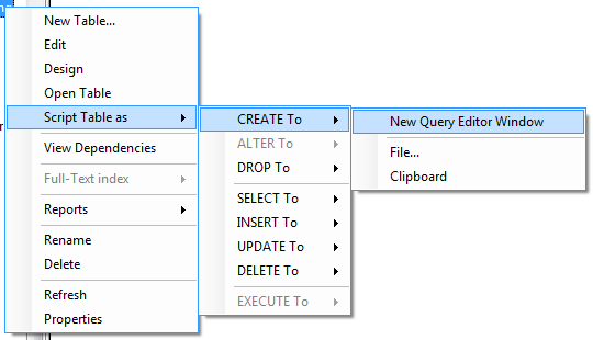 "SSMS 2005 ""Script [Object] as"" menu options"