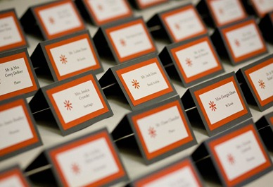 Grey and Tangerine Escort Cards