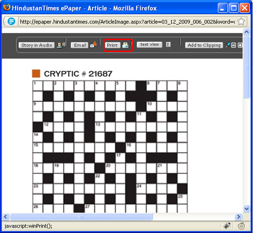 HT Crossword Print