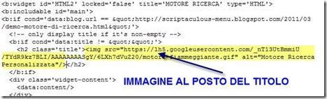 immagine al posto del titolo in un widget di blogger