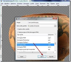 salva immagini PNG in GIMP