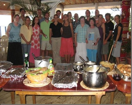 Our Group of Americans getting ready to have Thanksgiving dinner in Vava'u.