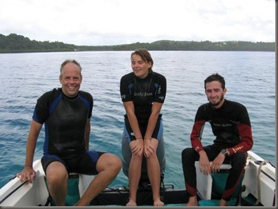 Steve, Emma and Stan after finishing their dive