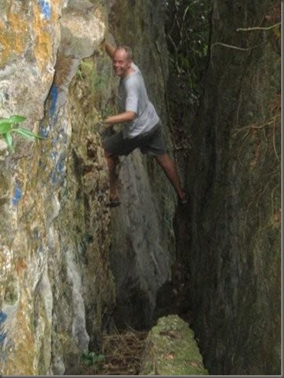 Steve rock climbing on Mt. Talau