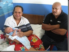 Hangale and 'Ofa with new daughter
