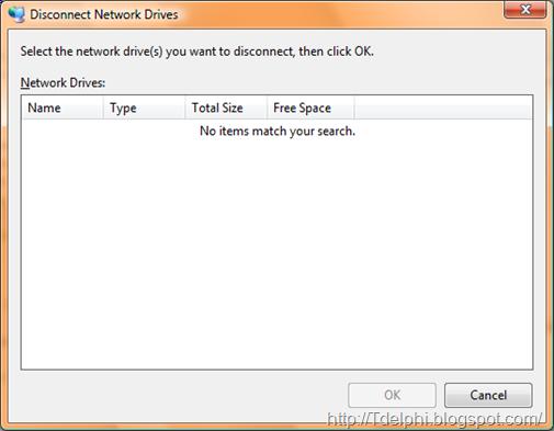 Диалог отключения сетевого диска