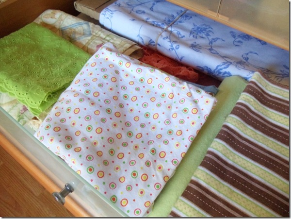 pretty fabrics in drawer