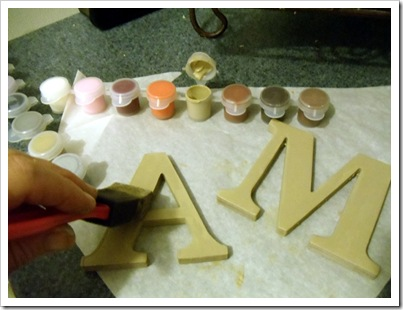 Painting cardboard letters
