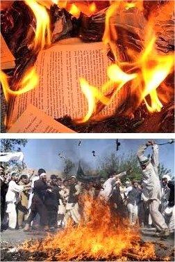 Salvajes quemando libros.