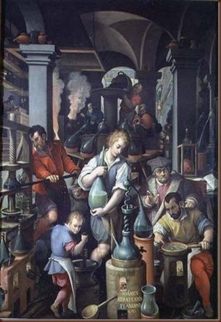 Ζωγραφική απεικόνιση αλχημιστή στο εργαστήριο του.