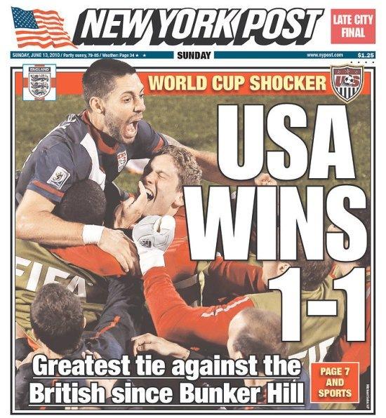 США выиграла Англию со счетом 1-1