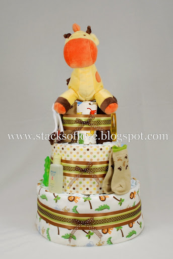 Diaper Cake jungle safari theme with plush giraffe
