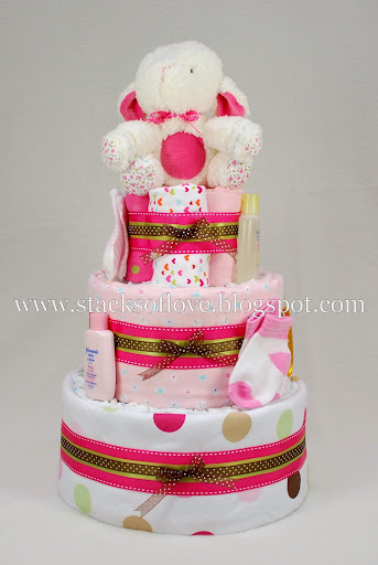 Diaper Cake with plush lamb