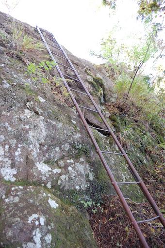 三ツ瀬明神山馬の背手前の鉄梯子の写真