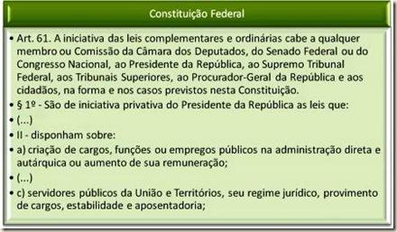 Constituição Federal. Art. 61,II,a,c - Matérias de Iniciativa do Presidente, do Governador e do Prefeito. Princípio da Simetria.