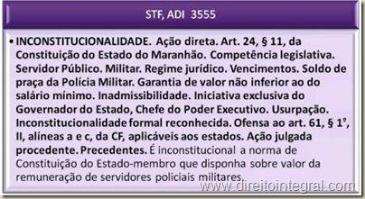 STF - ADI 3555 - Inconstitucionalidade de Dispositivo de Constituição Estadual que Estabeleça Piso Policial.