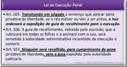 Lei de Execução Penal. Arts. 105, 106 e 107