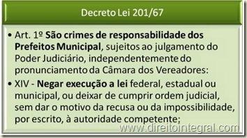 Decreto-Lei 201 de 1967. Responsabilidade de Prefeitos e Vereadores.