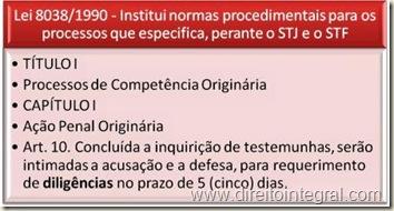 Lei 8038/90. Art. 10. Diligências e Produção de Prova.