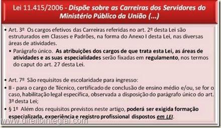 Lei 11415/2006. Carreiras dos Servidores do Ministério Público da União. Requisitos.