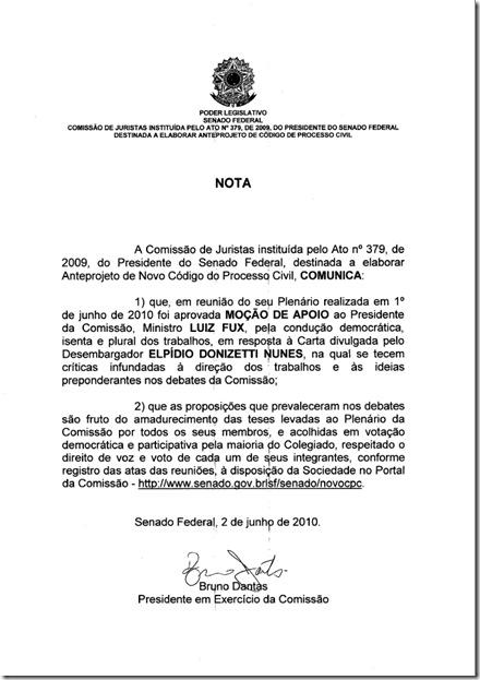 Moção de Apoio da Comissão de Juristas encarregada de elaborar o NovoCPC ao Ministro Luiz Fux, em resposta às críticas de Elpídio Donizetti.