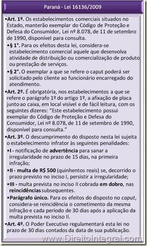 Paraná. Lei Estadual 16136/2009.