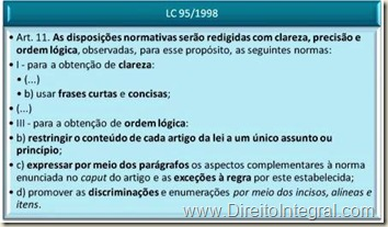 Lei Complementar 95/1998. Atributos da Norma Jurídica bem Redigida.