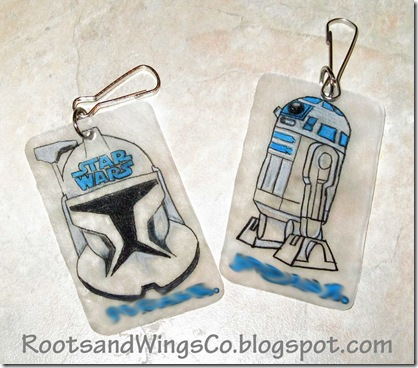 Shrinky Dink Clone Wars name tags