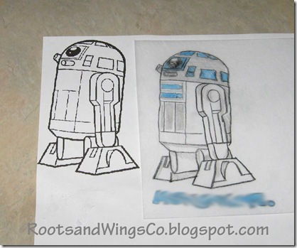 R2-D2 Shrinky Dink line drawing