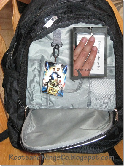 Backpack with contact tag