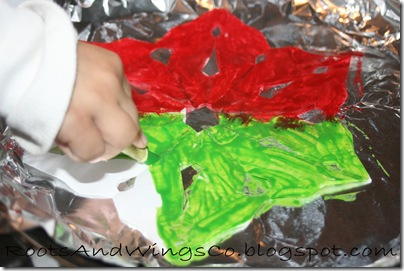painting with crayons on snowflakes 1