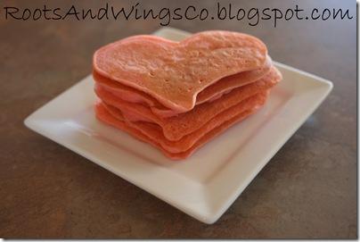 valentine pink heart pancakes