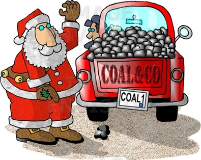 Santa Preparing a Load of Coal For Bad Boys and Girls on Christmas Clipart