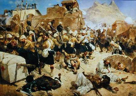 The 92nd Highlanders & 2nd Goorkhas storming Gaudi Mullah Sahabdad at Candahar, Richard Caton Woodville (1881)